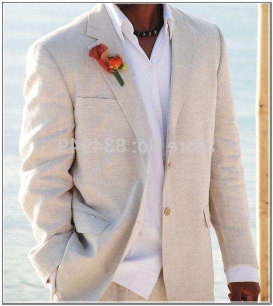 Luce Lino Beige Abiti Da Sposa Spiaggia Smoking Per Gli Uomini Custom Made Abito Di Lino