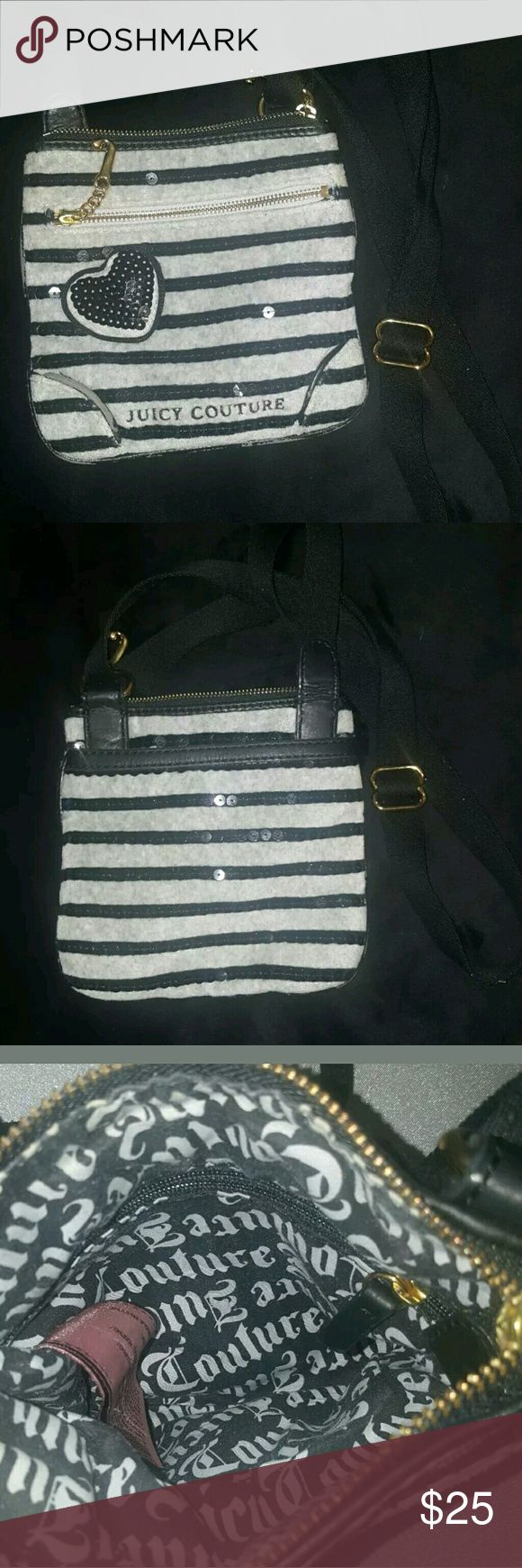 """Juicy Couture Crossbody *Make Offer* Small Purse  Pouch Linned Bag  Striped With Heart and Sequins  Golden Accents  Zipper Shut  Zipper Front Pocket  Open Pocket Back  Small Zipper Pocket Inside   Pre-owned  Used - Minimal Wear   Black, Gray Striped  8""""x8""""x4"""" up to 2' Strap Drop  80% Cotton  20% Polyester  Made in USA Juicy Couture Bags Crossbody Bags"""