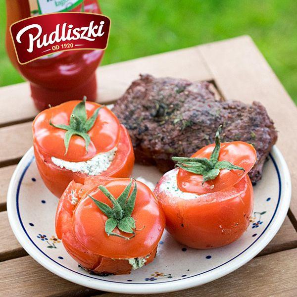 Grillowane faszerowane pomidory  #pudliszki #przepis #pomidory #grill