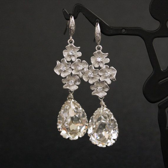 Bridal Earrings Clear Swarovski Teardrops Silver by poetryjewelry, $40.00 for Carley to check out