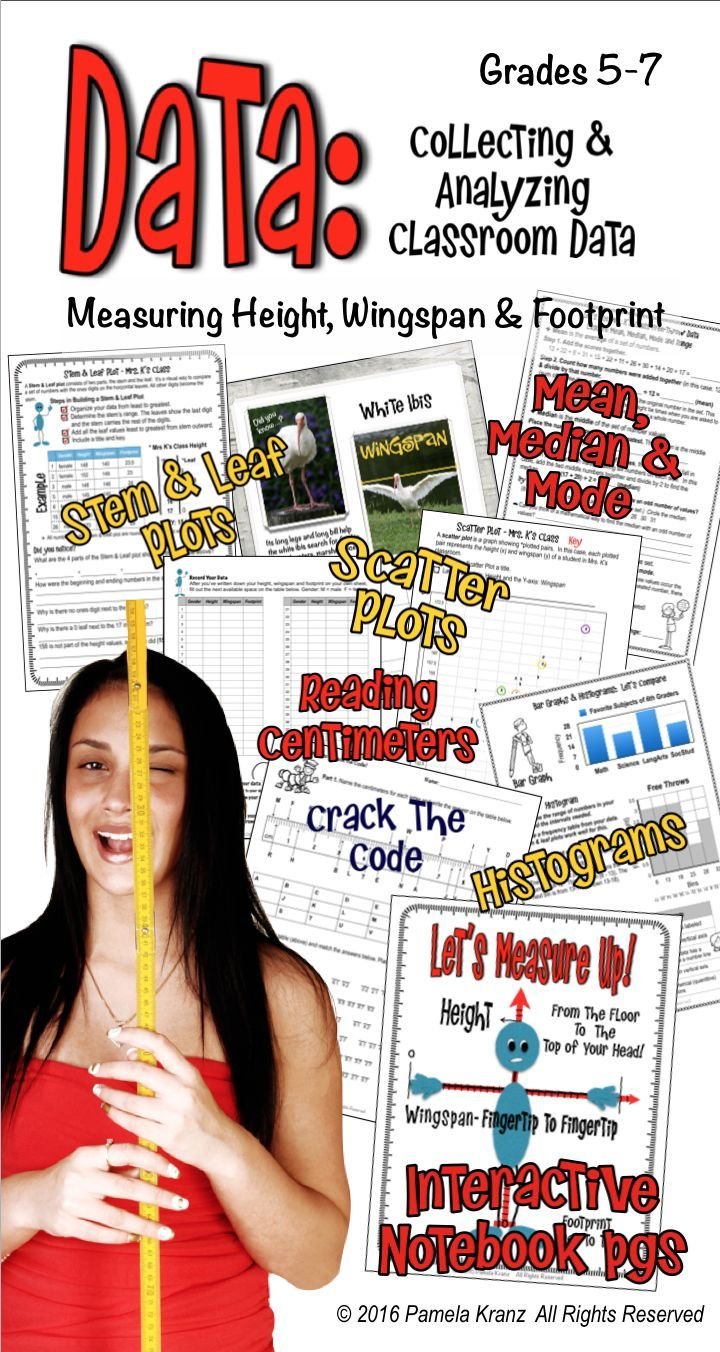This is a fun way for kids to use their own height, wingspan and footprint data to create scatter plots, histograms and more.  Over 12 activities and extensions, including a Crack the Code! Gather your data at the beginning of the year and use it all year! Grades 5-7