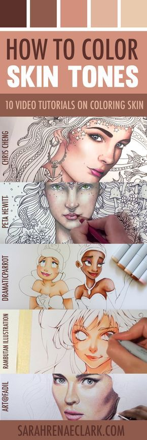Learn how to color skin tones with colored pencils or markers with these 10 video tutorials.   How to Color Skin Tones   10 Video Tutorials on Skin Coloring Techniques with Colored Pencils or Markers   Three-part series by Sarah Renae Clark