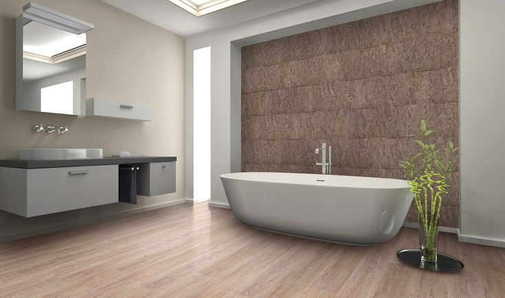 Kurk helpt een serene sfeer te creëren in een design badkamer. #kurk #badkamer
