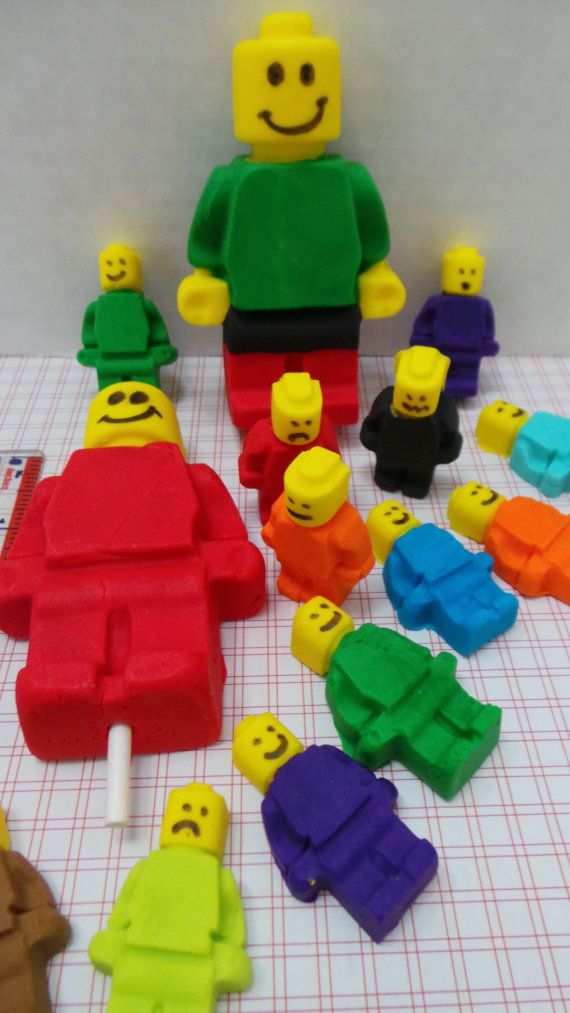 FONDANT LEGO Set For cupcakes, cakes and cookies. Birthdays, weddings, showers. 1 Large Lego 16 small ones. Edible LEGO Cupcake toppers