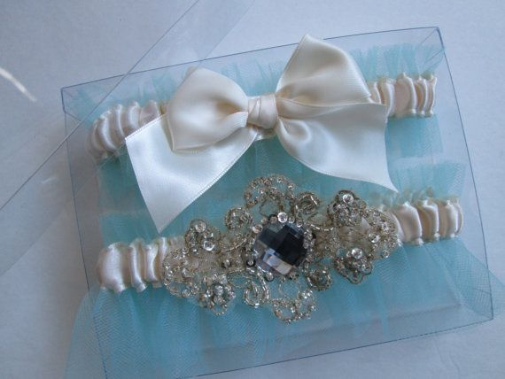 Something Blue Wedding Garters, Ivory Satin Garters, Tiffany Blue Aqua MINT Garters, Kitsch Wedding Garters, Beaded Lace Champagne Garters