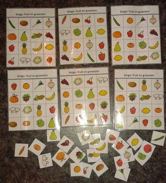 hoekenwerk: bingo met groenten en fruit