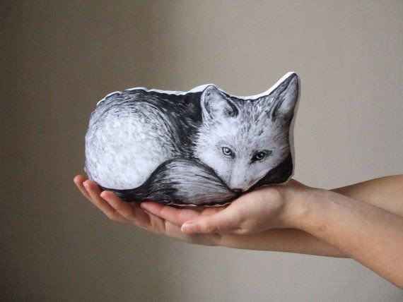 woodland fox pillow soft toy home decor black and white by MosMea, €25.00