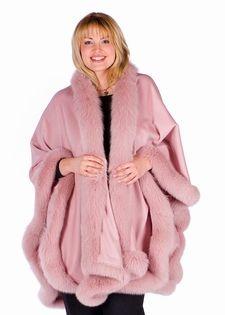 Plus Size Pink Fox Trimmed Cashmere Cape $1095