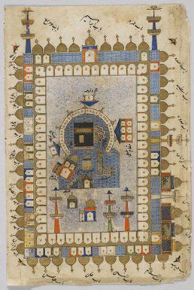 The Ka`ba at Mecca (painting, verso), Text (recto), folio 20 (detatched) from a Manuscript of a Majmu`a of Persian Texts