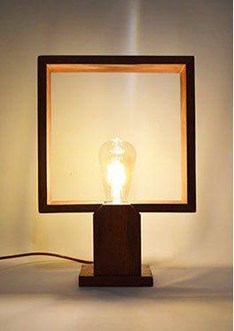 Lampe Poser Design En Bois Tropical Ampoule Led Type Edison