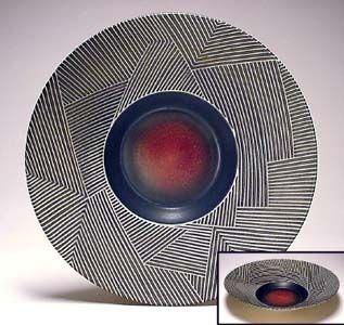Scraffito - Large Bowl, Weaver, Blue Black and Red Color Set, Wayne Bates