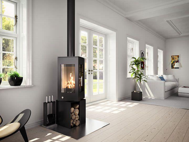 Holz-Kaminofen / modern / aus Metall / für Ecken Q-BIC 106/127 RAIS