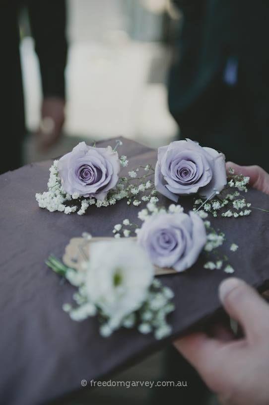 Margaret River Wedding ~ Rustic  ~ Button Hole ~ Groom ~Groomsmen ~Lilac ~ Greenery ~ Bohemian ~ Spring Wedding ~ Vintage ~ Wedding Floral Design ~ Australia weddings ~ UK Weddings ~ International wedding and event styling ~Styling By http://www.chicrustique.com.au/about ~ Photography www.freedomgarvey.com.au/