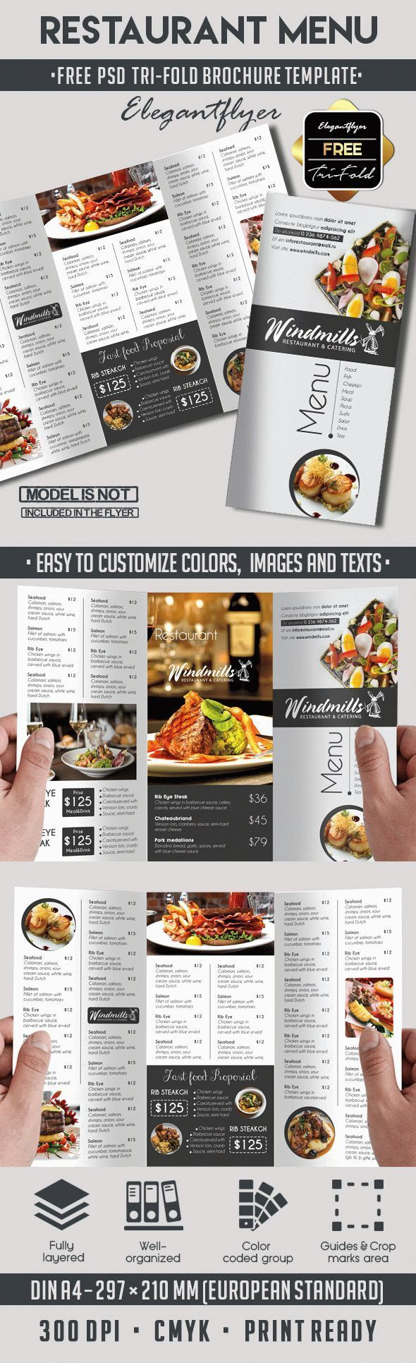 Restaurant Menu – Free PSD Tri-Fold PSD Brochure Template