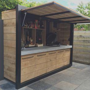 Trend Ideen Bar Bauen Outdoor-Küche Eichenholz Beton und Stahl Design Www