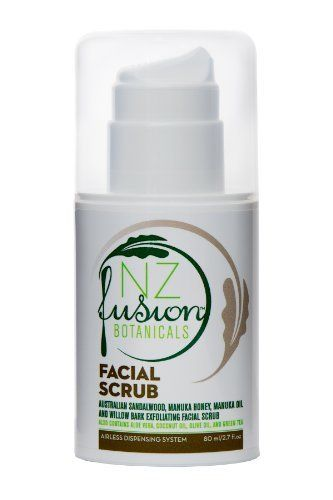 Sandalwood, Manuka Honey and Manuka Oil Gentle Facial Scrub by NZ Fusion Botanicals (TM). $8.90. Gentle and effective. Also contains green tea extract and aloe vera. Exfoliates with sandalwood powder and protects with manuka honey and manuka oil. Australian Sandalwood, Manuka Honey, and Manuka Oil Gentle Facial Exfoliating Scrub  Airless Pump 80ml/2.27fl.oz  Removing dead skin cells and controlling pore size are crucial steps in maintaining a healthy, glowing skin....