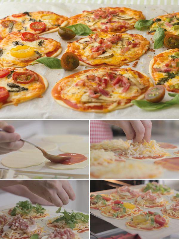 Mini Pizzas hechas con obleas de empanadillas ☂ᙓᖇᗴᔕᗩ ᖇᙓᔕ☂ᙓᘐᘎᓮ http://www.pinterest.com/teretegui