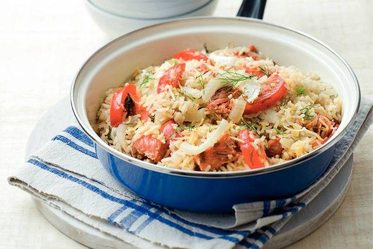 Rijstschotel met wilde zalm en venkel - Recept - Allerhande