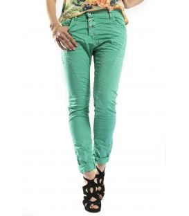 PLEASE jeans boyfriend baggy 3 buttons GREEN P78ACV9DQ NEW
