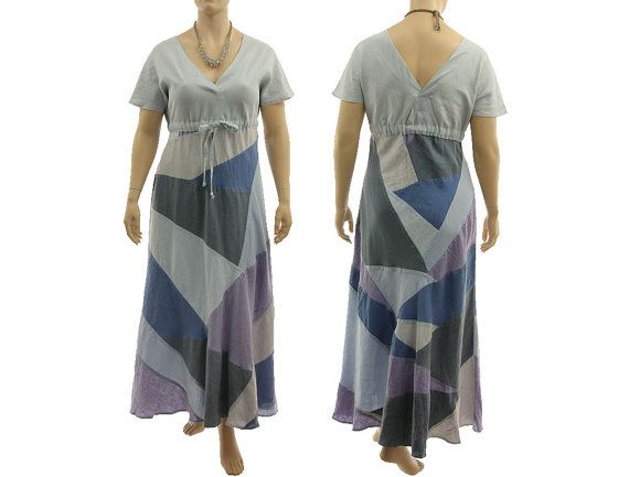 Boho maxi patchwork dress linen summer dress blue von classydress