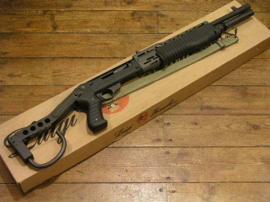 Franchi SPAS-12Dual action 12 gauge shotgun that can switch to pump or semi-auto.