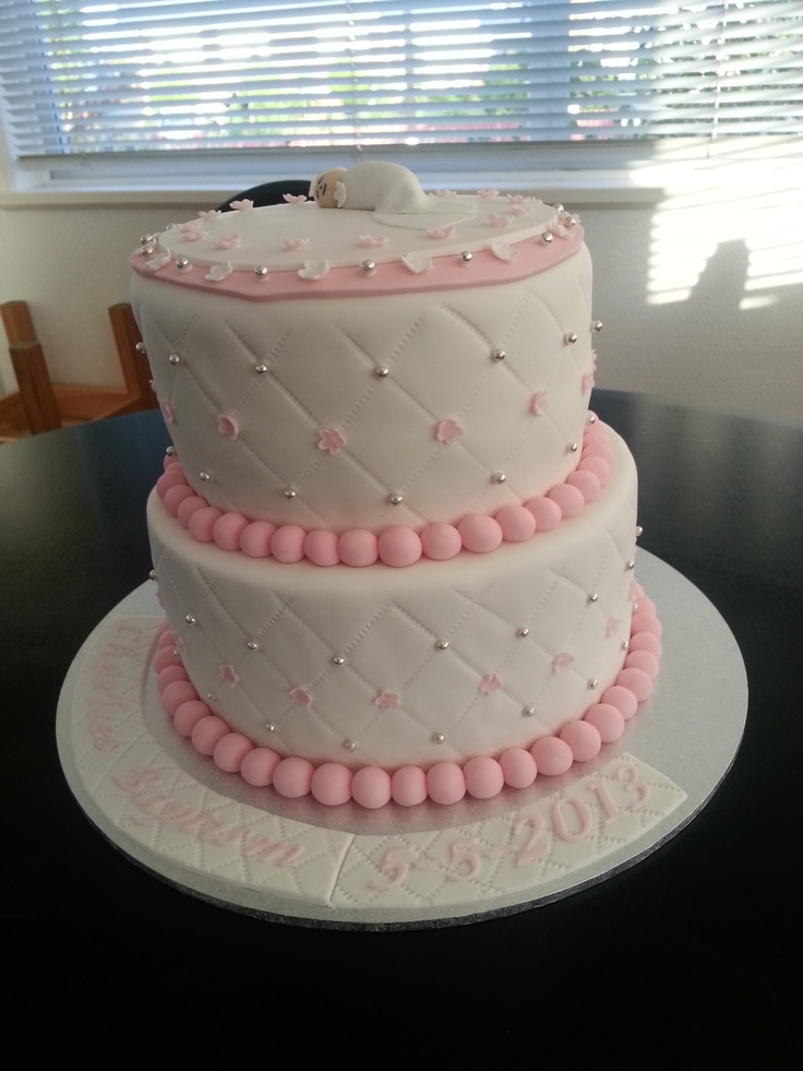 Baptism pink and white cake