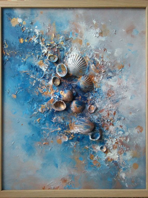Abstract Painting, Signed Framed Ready to Hang, Mysterious Art, Dreamy, Seashells art, Romantic Painting, Surreal, Love * Ocean, Sand