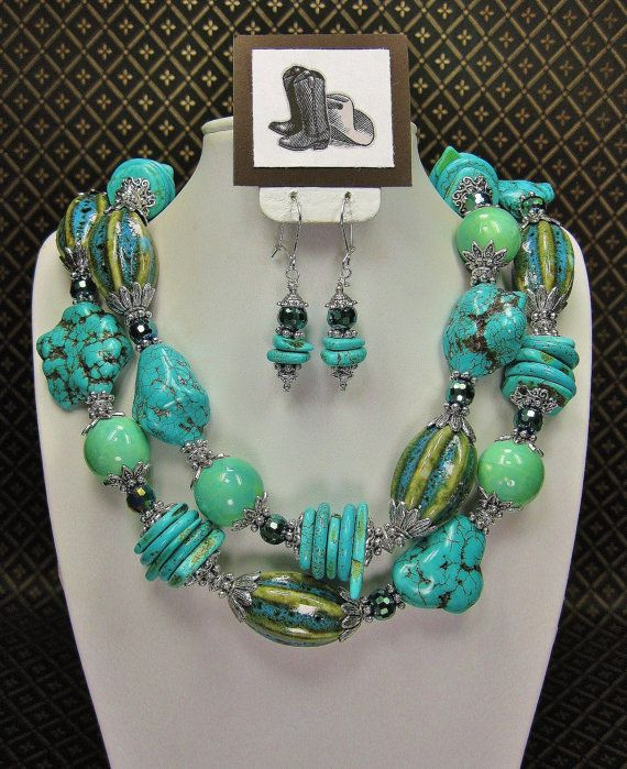 Howlite Turquoise Chunky Statement Cowgirl Bold Western Style Necklace Augusta Western Style