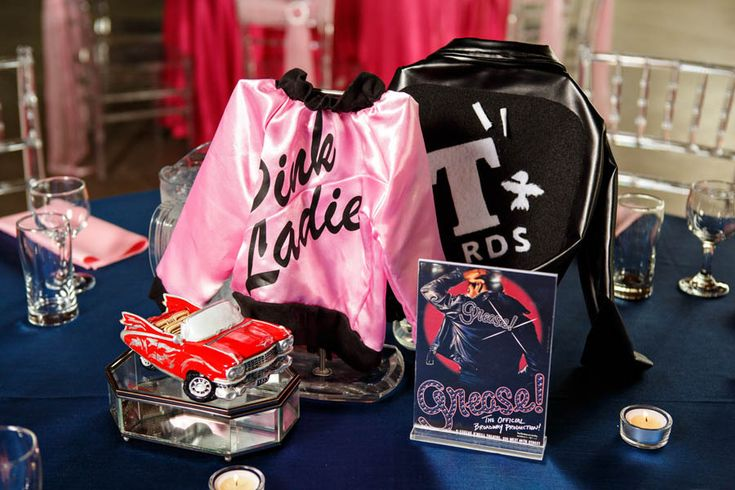 Grease/Broadway musical themed wedding centerpiece.