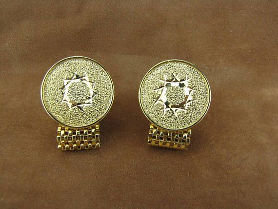 Gold Men's Cufflinks With Star Design Wedding Cuff Links