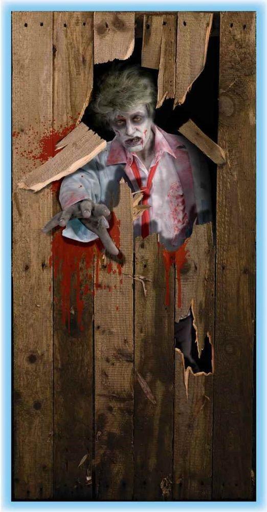 walking dead halloween haunted house zombie door poster scene setter new