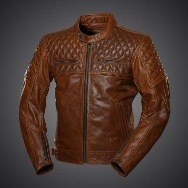 4SR Motorradlederjacke Scrambler Cognac