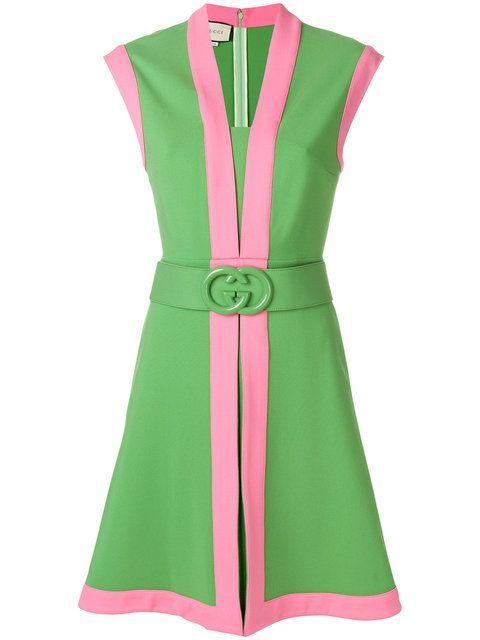d1a1c64e2 Gucci Jersey dress with GG belt | Pink and Green makes everything ...