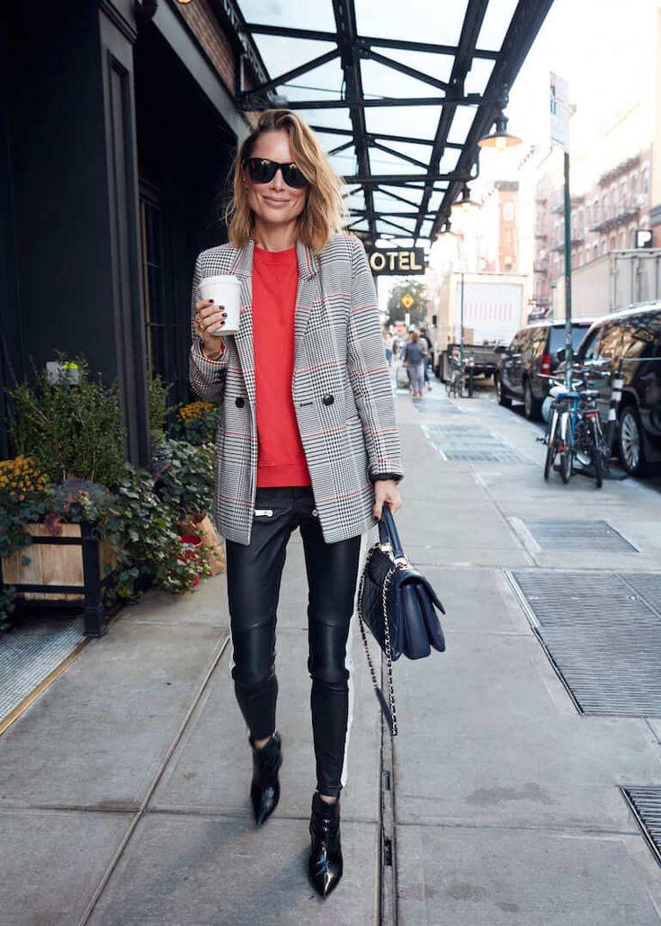 Streetstyle-look-blazer-carreaux-pull-rouge-blog-mytrendymarket copie