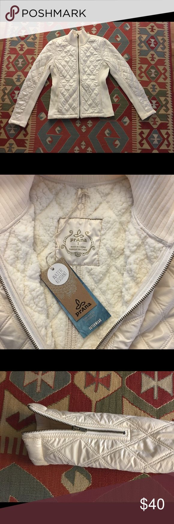 Prana coat Ivory prana water resistant coat. New with tags! Size small. Great moto style fit with zip sleeves. Prana Jackets & Coats