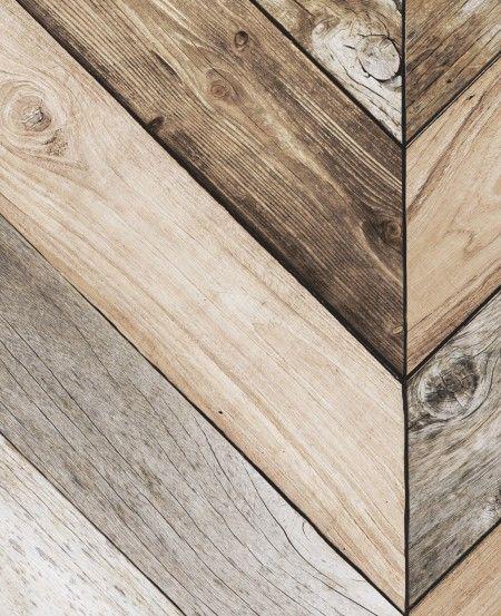 Chevron Wood Herringbone Wallpaper - Peel and Stick, Chevron Wall, Herringbone Wall Art
