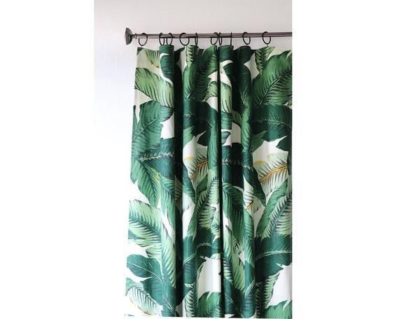 Linen Banana Leaf Curtain Panels Banana Leaf Decor Etsy