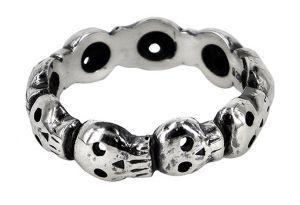 9 skull eternity ring in sterling silver - $180