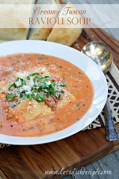 When I spotted this Tuscan Ravioli Soup recipe over at my friend Gina's blog last winter, I knew I needed to make it immediately! It starts witha creamy tomato basethat's loaded withItalian saus...