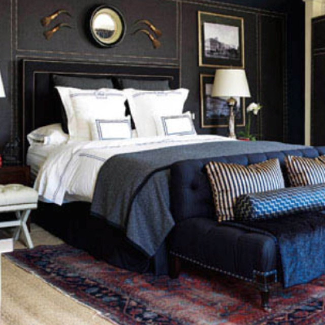 Very cool masculine room idea. Love the colors and sheen of fabrics,  patterns too