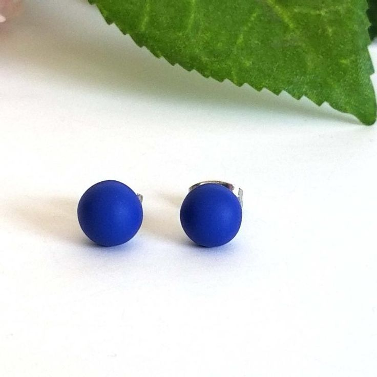Classic Blue Clay Stud Earrings Small 12 Mm Round Or 6 Mm Etsy In 2020 Stud Earrings Small Earrings Studs Blue Clay