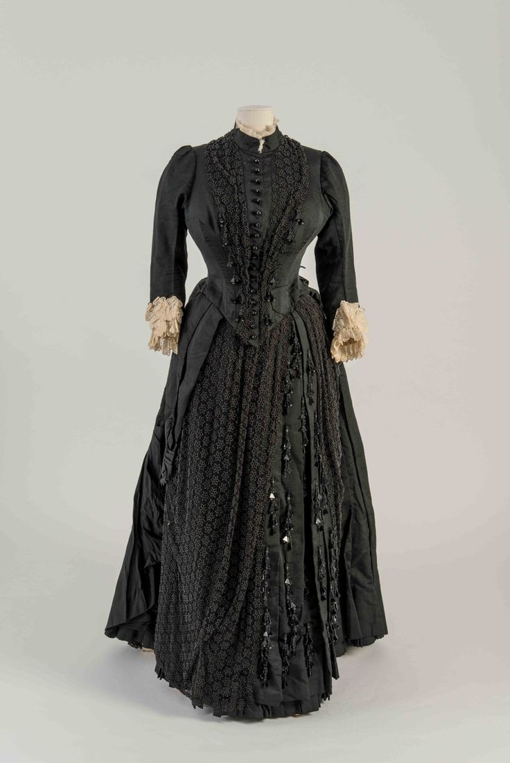 "Fashion Museum Bath on Twitter: ""Front & side view of an old favourite! Black corded silk dress decorated with embroidered net & jet…"