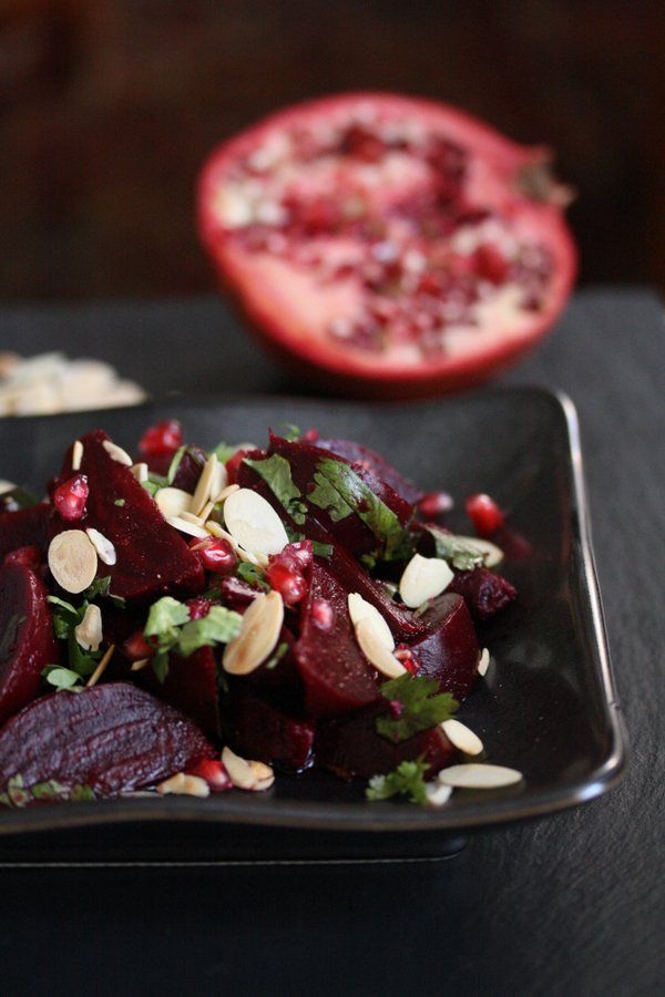 Moroccan Roasted Beet Salad with Almonds and Pomegranate Seeds