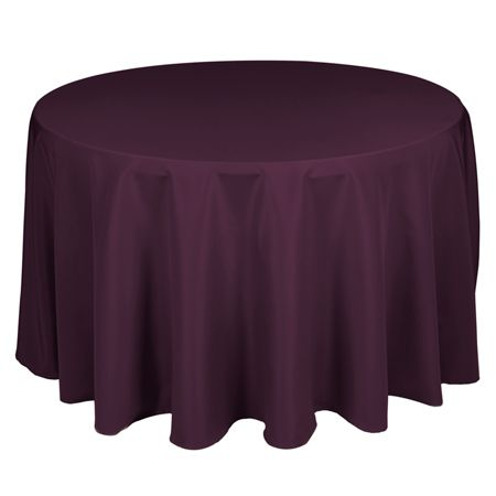 """90"""" Round Polyester Eggplant Tablecloth 