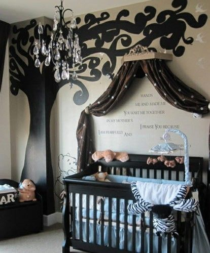 I really like the curtain over the crib with writing! If we have a little girl I am going to put her name's meaning and a bible verse to go with it =)