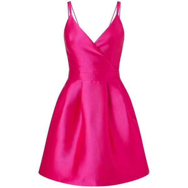 Miss Selfridge Fuschia Camisole Prom Dress (135 NZD) ❤ liked on Polyvore featuring dresses, fuchsia, polyester camisole, pink cami, fuschia prom dress, pink cami dress and fuchsia pink dress