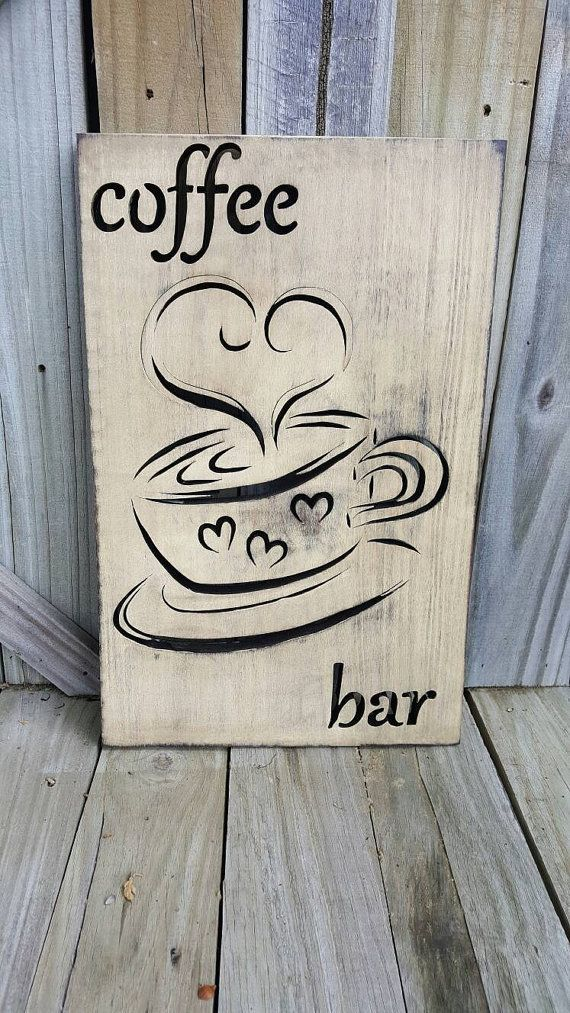 Coffee sign kitchen decor coffee bar wooden coffee sign