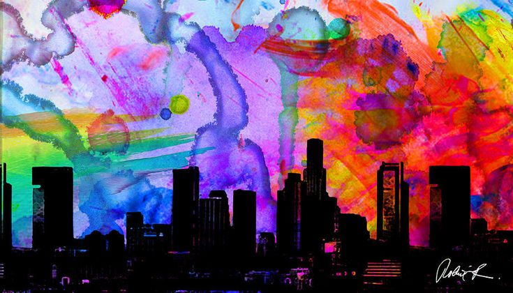 60x34 Panoramic Watercolor Skyline Www.splashyartist.com Painting by Robert R Splashy Art Abstract Paintings