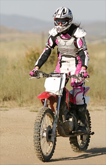 """this is the only time i am ok with pink as a fashion statement- since it SCREAMS: """"GIRL ON THIS MOTO!"""""""
