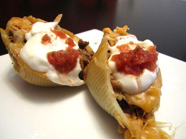 taco shells!: Mexican Tacos, Idea, Mexicans, Food, Dinners, Pasta Taco, Finished Taco Pasta Shells Jpg, Taco Shells